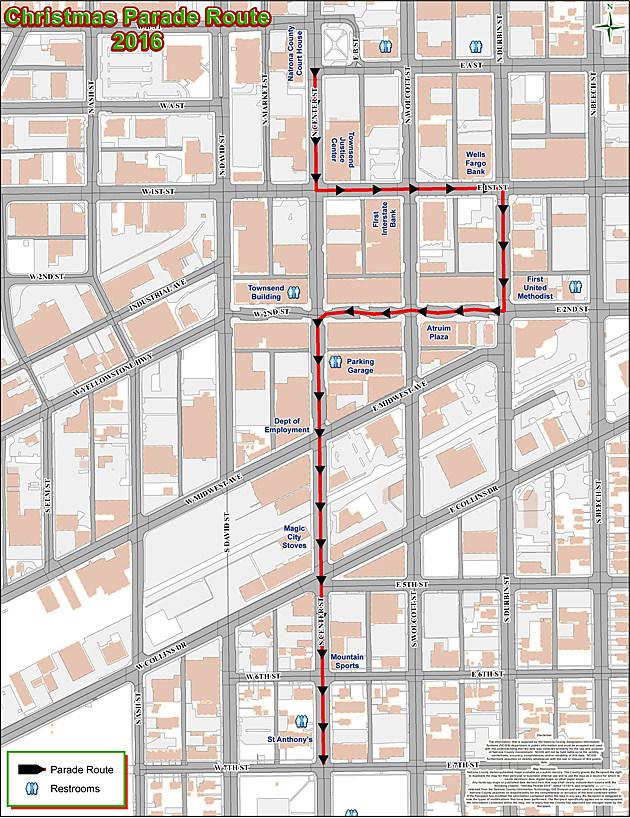 2016 Casper Downtown Christmas Parade Route